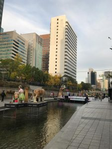 Cheonggyecheon river revitalisation, Seoul, South Korea, after demolishing a flyover expressway where 170,000 cars passed daily, it revived a stream and created the Seoul Greenway, one of the longest urban park in the world.